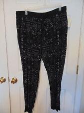 new WOMENS knit Pants size 3x black gray geometric drawstring cuff lounge T17