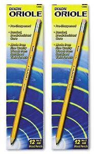 DIXON Oriole Pre-Sharpened Pencil HB #2 Black Lead latex-free eraser 24-Count