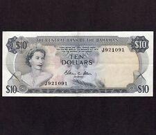 Bahamas, 10 Dollars 1974, P-38b, XF- * Allen Signature * Queen Elizabeth *