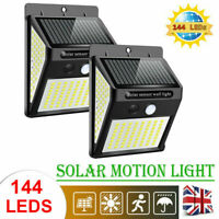 144 LED Solar Powered PIR Motion Sensor Outdoor Garden Light Security Flood Lamp