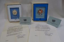 73 OR 74 UNITED NATIONS PEACE MEDAL 925 STERLING  FRANKLIN MINT W BOX & PAPERS