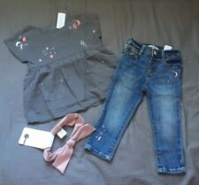 Baby Girl 18-24 Month Gymboree Star & Moon Top Skinny Denim Jeans & Headband