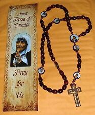 SAINT MOTHER TERESA CALCUTTA Wood 18in ROSARY / PRAYER w/bookmark GIFT Beautiful