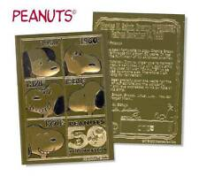 """SNOOPY PEANUTS 2000 LIMITED EDITION """"50 YEAR ANNIVERSARY"""" 23KT GOLD CARD!"""