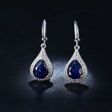 Ocean Blue Sapphire Water Drop Silver Plated Women's Dangling Earrings with CZ