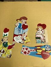 Vintage Valentine's Day Cutout Cards made in Usa lot of 4