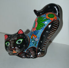 Manuela 1997 Clay Cat Figure Kitten Kitty Mexican Folk ART Signed