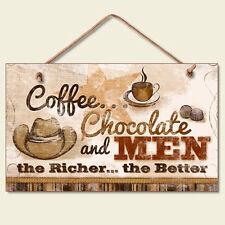Western Lodge Cabin Decor Coffee Chocolate Men  Wood Sign W/ Braided Rope Cord