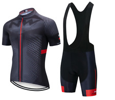 NW Cycling Jersey Short Sleeve with Bib Shorts Black / Grey / Red Size Medium