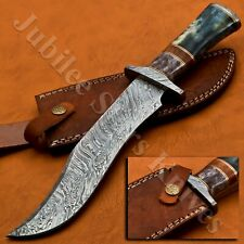 HANDMADE DAMASCUS STEEL HUNTING/BOWIE/DAGGER KNIFE HANDLE CAMEL BONE