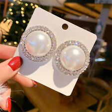 Fashion 1 Pair Women Lady Elegant Pearl Crystal Rhinestone Ear Stud Earrings NEW