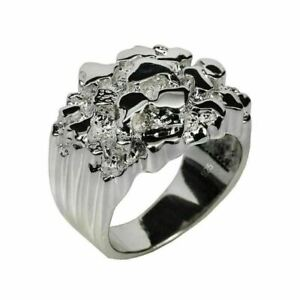 Men's REAL Solid 925 Sterling Silver Heavy Nugget Ring Plain Heavy Pinky Hip Hop