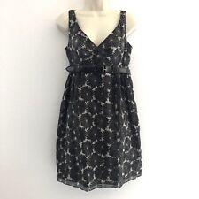 Milly Women's Sz 6 Dress empire waist belted sleeveless floral v-neck silk blend