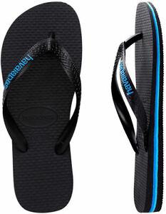 Havaianas Mens Rubber Logo Black Blue Thongs