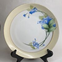 Antique Green Crown Nippon Hand Painted Blue Forget Me Nots Plate Yellow Trim