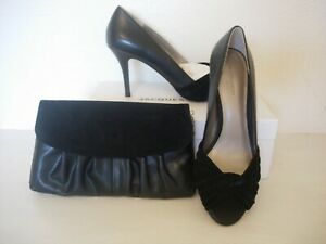 JACQUES VERT SHOES WITH SUEDE TRIM  AND MATCHING BAG-BLACK  SIZE 6 -NEW