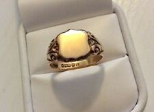 Superb Gents Antique 1918 Solid Heavy 9CT Gold Carved Shield Ring - W 1/2