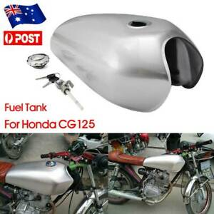 Motorcycle Vintage Fuel Gas Tank 9L 2.4 GAL Sliver For Honda CG125 Cafe Racer