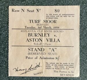Burnley v Aston Villa FA Cup Replay 1958/59 Match Ticket