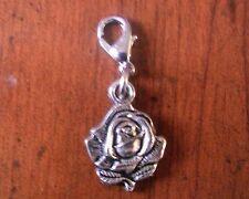 charms argentée fleur rose argenté 20x15mm