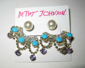 BETSEY JOHNSON GRANNY CHIC BLING AND FAUX PEARL EARRINGS