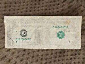 1988 US DOLLAR BILL INSUFFICIENT INKING ERROR