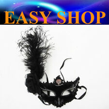 Women Black Long Feather Mask Costume Masquerade Cosplay Party Venetian Ball Eye