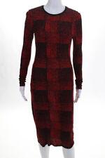 10 Crosby Derek Lam Womens Long Sleeve Sheath Dress Red Black Plaid Size Small