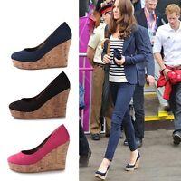 Womens Ladies Party Pumps Wedge Heels Round Toe Platform Court Dating Shoes AU