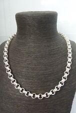 "Solid Sterling Silver Heavy Plain & Patterned Belcher Chain 22""- 69g -9 mm link"