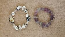 New Two White Shell and Purple Rock Stretchable Bracelets