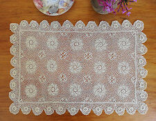 Extreme Fine Yarn Hand Crochet Lace 3D Flower Doily Mat Placemat 29x45CM Ecru