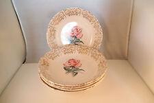 Vintage Jubilee 22K Gold Warranted Pink Rose Set of 5 Coupe Soup Bowls