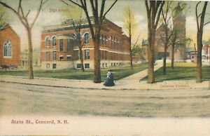 CONCORD NH – State Street showing High School and Unitarian Church – udb