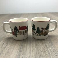 MASONS IRONSTONE CHRISTMAS VILLAGE Children's Mugs 1983 Pair In Excellent Cond