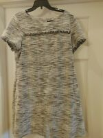 Connected Apparel Womens Dress Gray Size 16 Shift Fringe Detail Knit