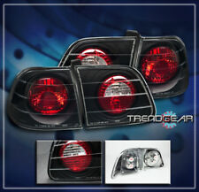 1999-2000 HONDA CIVIC ALTEZZA TAIL LIGHTS LAMP BLACK 4-DOOR 4DR BK DX EX LX GX