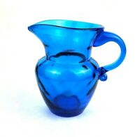 "Blue Art Glass Creamer Pitcher Diamond Optic Pattern Applied Handle 5"" Tall"