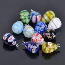5pcs 20x12mm Mixed Millefiori Glass Loose Teardrop Pendants Beads Jewelry Making