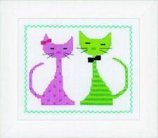 VERVACO 0149498 Gatto rosa e verde Kit Per Ricamo contato
