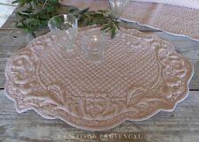Tischset oval Platzset Rosa Deckchen Baumwolle gesteppt Shabby Vintage Landhaus