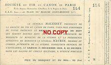 Société du tir au canon de Paris 1929 Guerre Artillerie Banquet Bal vieux papier