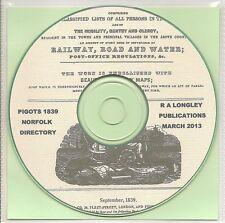 CD Norfolk County Directory 1839 Pigot/'s