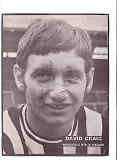 David Craig Newcastle United 1962-1978 Original Firmada A Mano Imagen