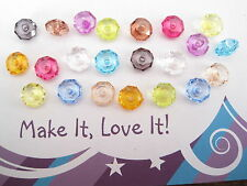 22 x FACETED RONDELLE BEADS 8MM X 5MM FEATURE ACRYLIC MIXED COLOUR SPACER DONUT