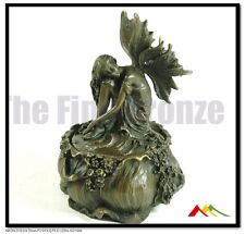 signed Milo, Real Bronze Butterfly Girl Trinket Box, Not Resin