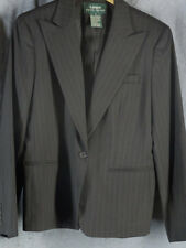 Ralph Lauren 8 Black Wool Pinstripe Wool Blazer Jacket