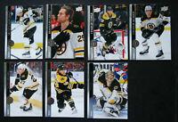 2020-21 Upper Deck UD Boston Bruins Series 1 Base Team Set of 7 Hockey Cards