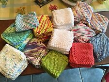 Lot of 4 Hand Knitted Washcloth/Dishcloth 100% Cotton