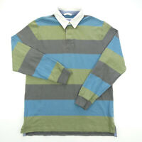 VINTAGE LL BEAN Medium Polo Rugby Shirt Long Sleeve Blue Green Striped